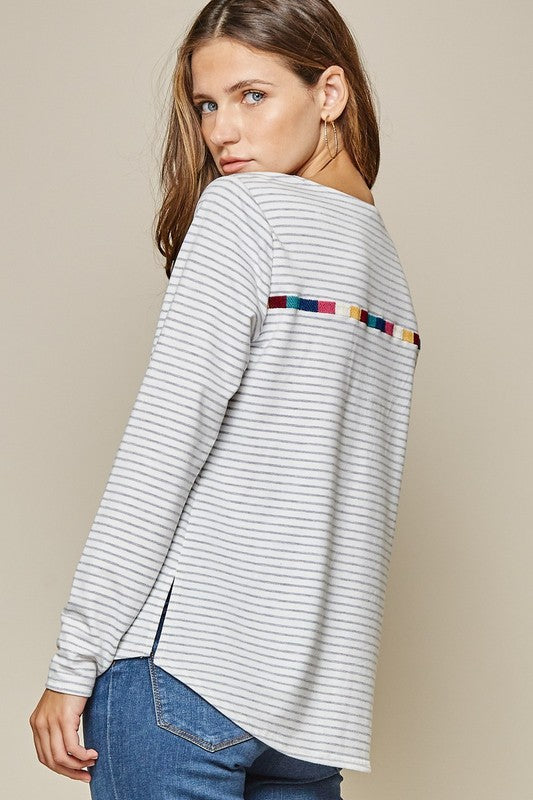 Stripe Embroidered Top