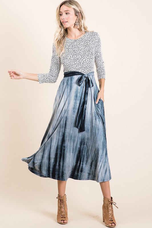 Dot and Tie Dye Midi Dress