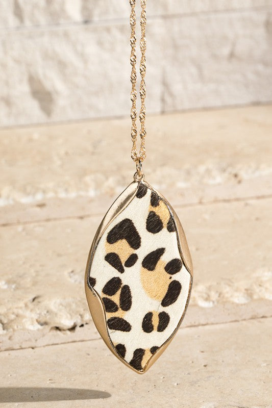 Animal Print Teardrop Necklace