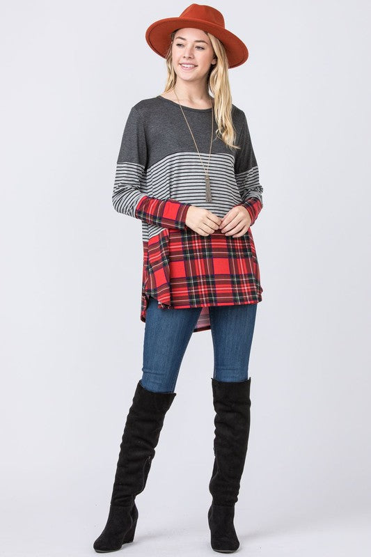 Colorblock Plaid Top