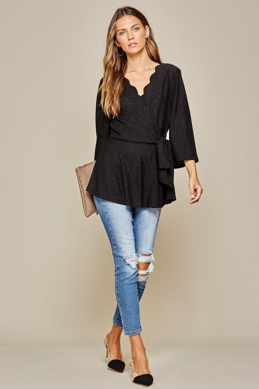 Black Shimmer Scallop Top