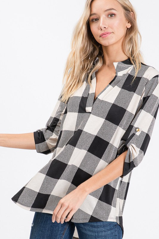 Buffalo Plaid Split V-Neck, Ivory or Teal