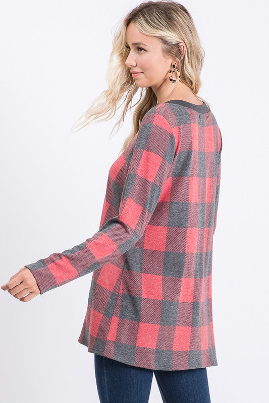 Buffalo Plaid Dusty Red Tunic