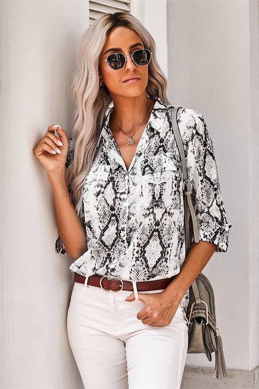 Snakeskin Button Up Top