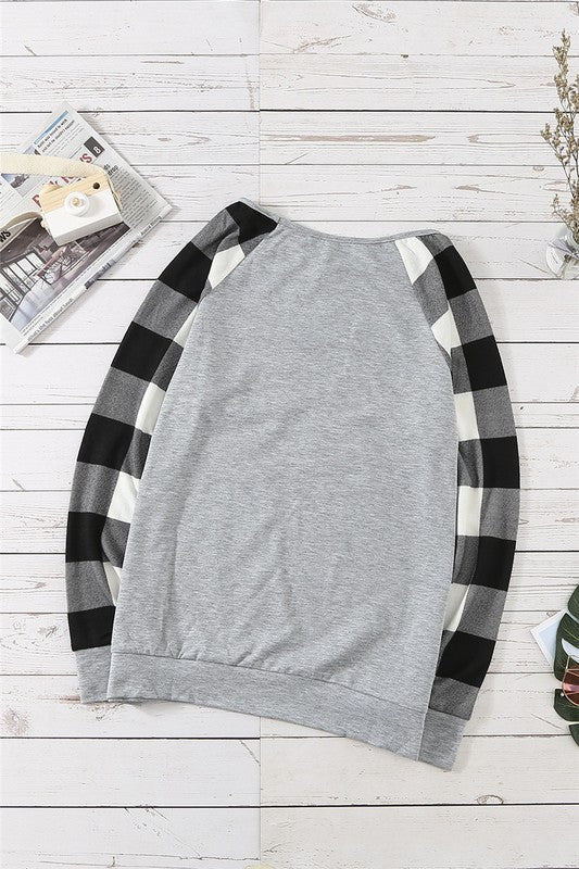 Buffalo Plaid Raglan Sleeve Top