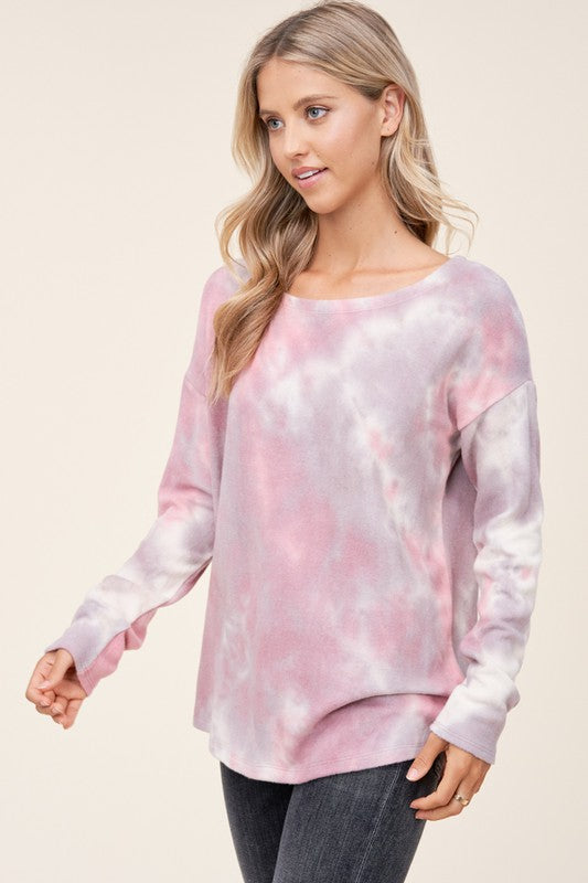 Brushed Tie Dye Top