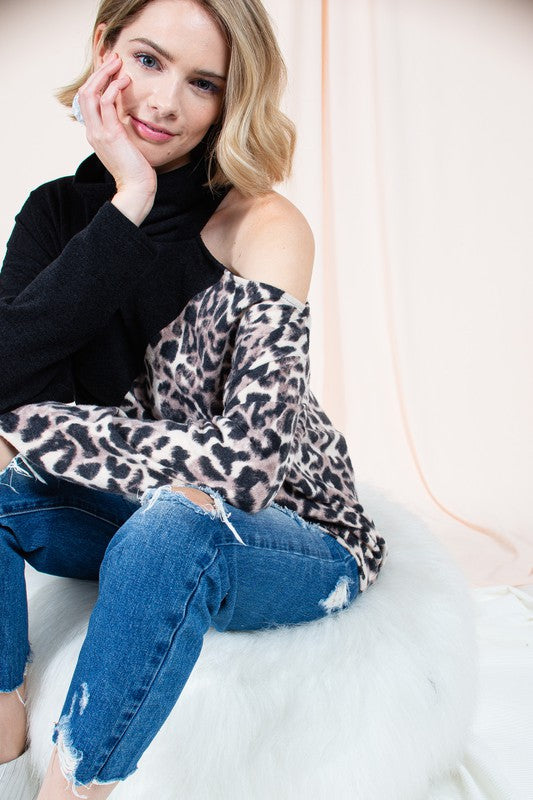 Open Shoulder Leopard Colorblock Top