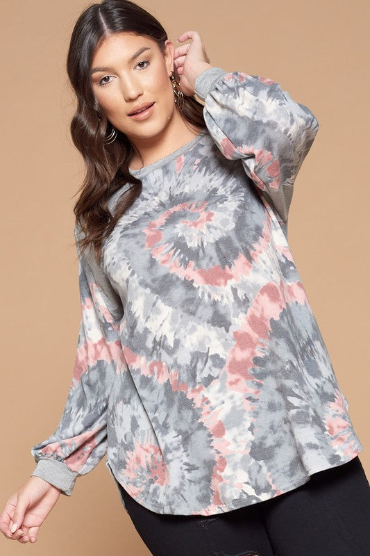 Tie Dye Balloon Sleeve Tunic