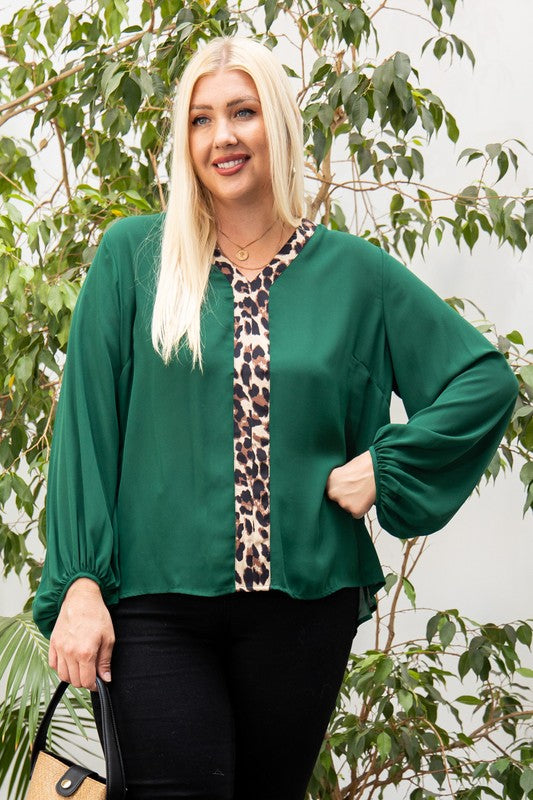 Leopard Accent Top