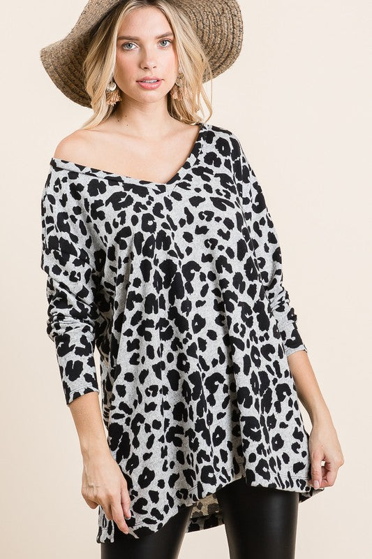 Loose Fit Grey Leopard Tunic