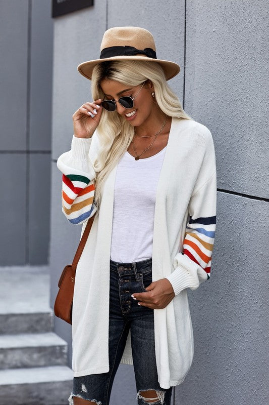 Rainbow Open Front Cardigan