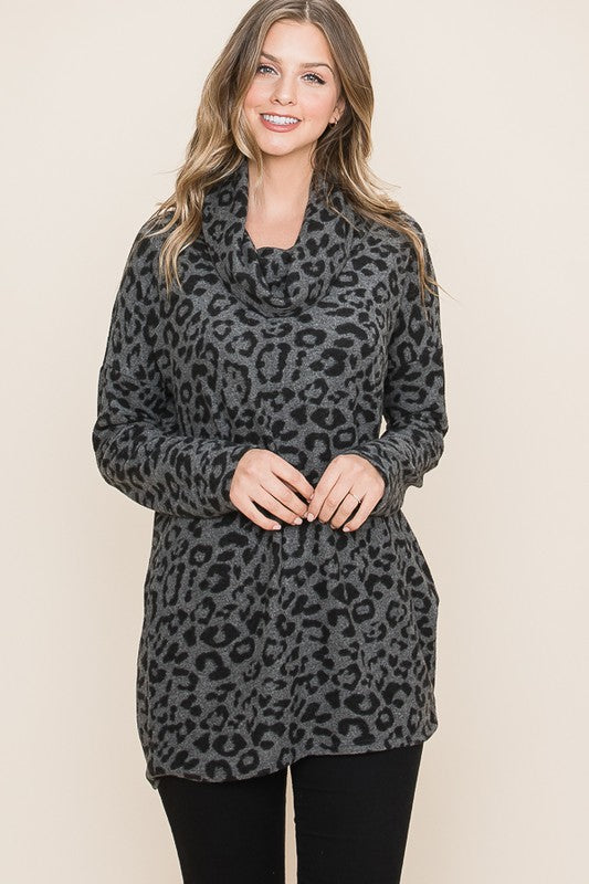 Charcoal Brushed Cowl Neck Leopard Tunic