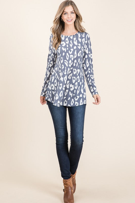 Navy Leopard Top