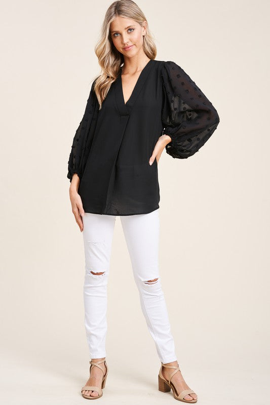 Swiss Dot Sleeve Blouse