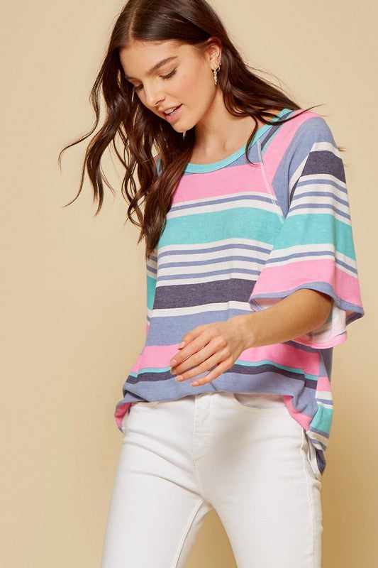 Pink & Mint Striped Top