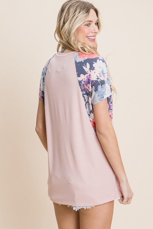 Blush Abstract Floral Top