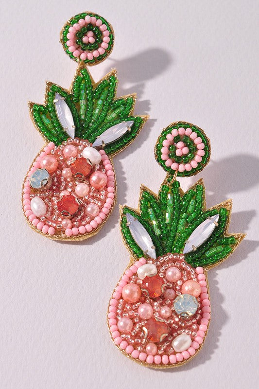 Pink Pineapple Beaded Earrings