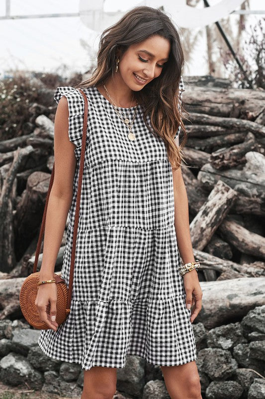 Black Gingham Tiered Dress