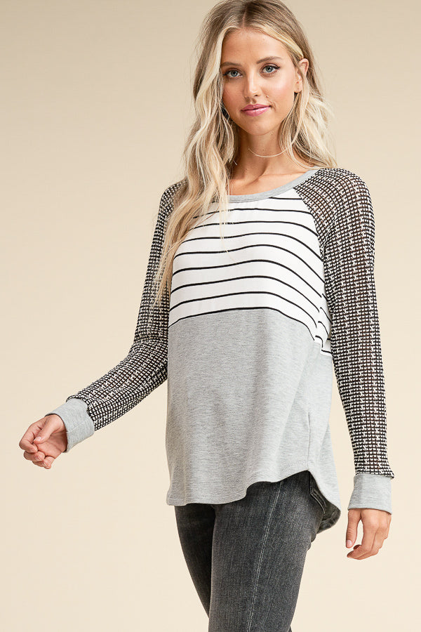 Blocked Long Sleeve Top