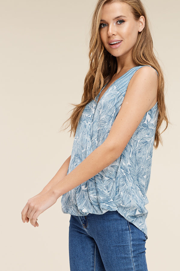 Leaf Print Wrap Tops