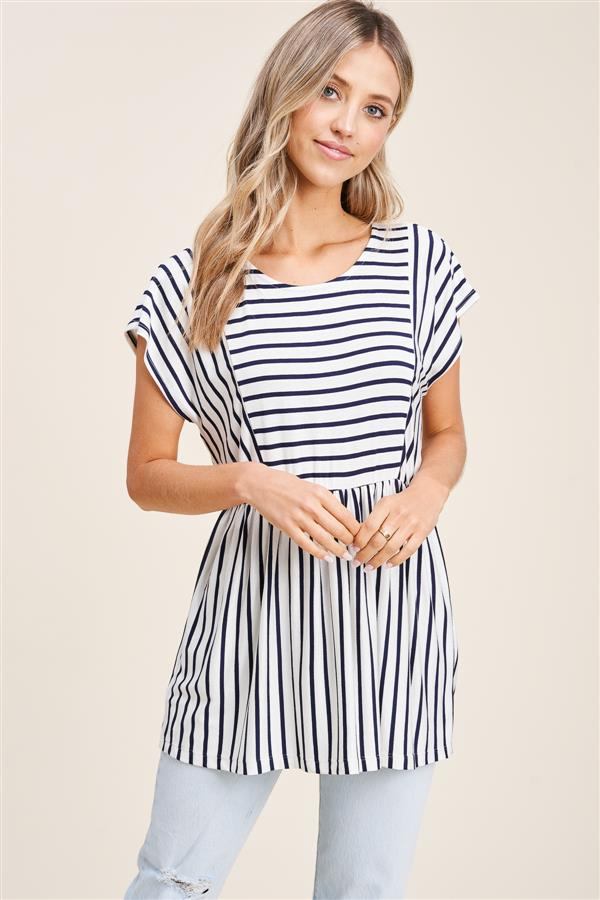 Striped Striped Peplum Top, 2 Colors