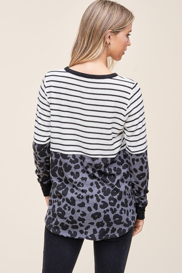 Stripe Leopard Block Long Sleeve