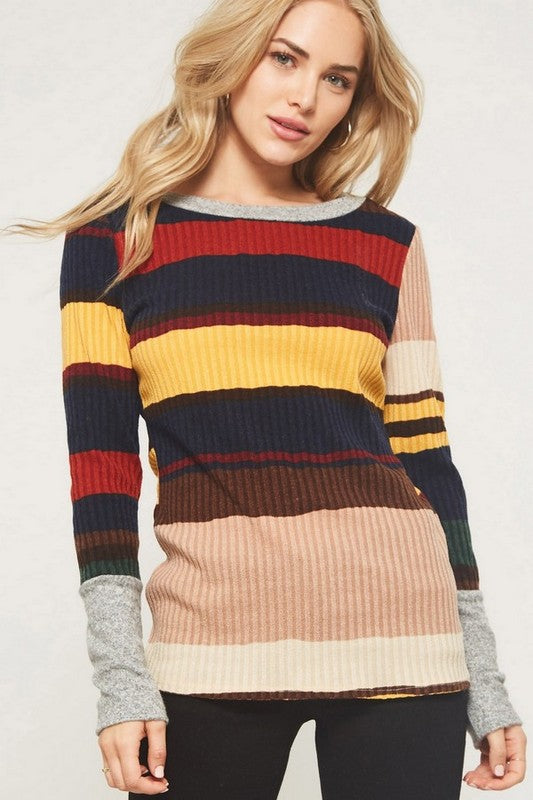 Multi Striped Ribbed Knit