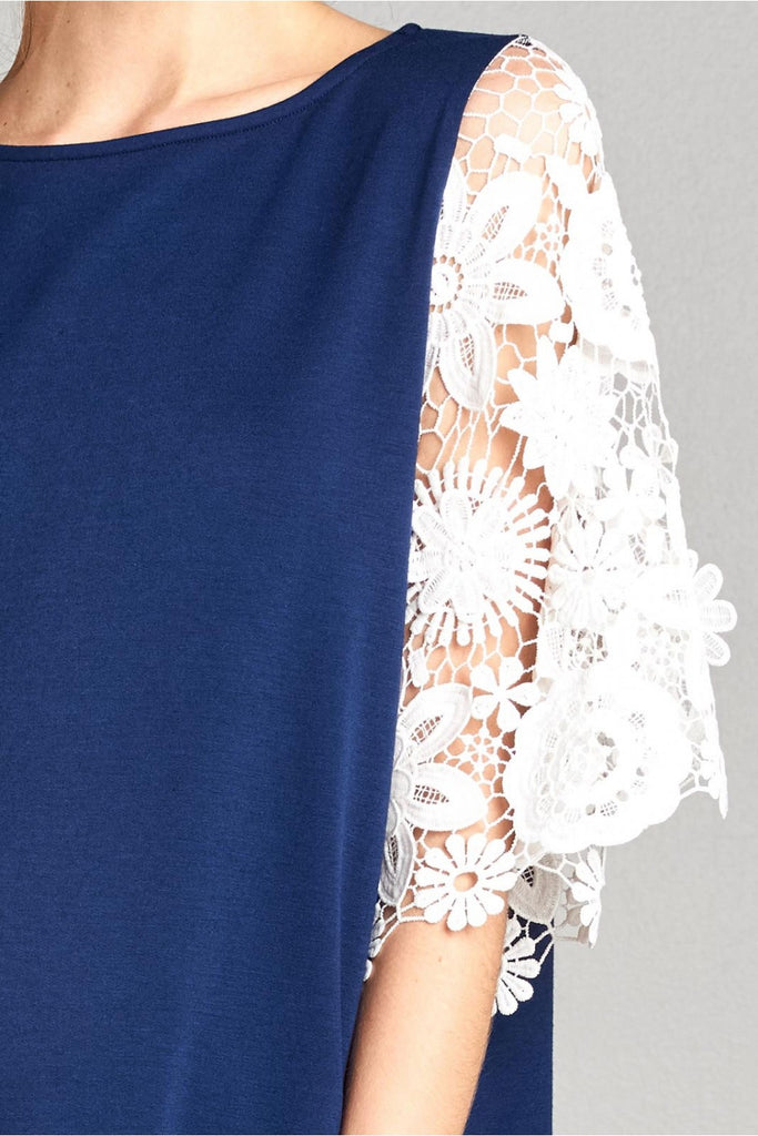 Navy Lace Sleeve Dress