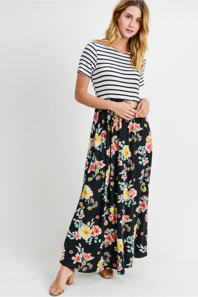 Black Striped Floral Maxi Dress