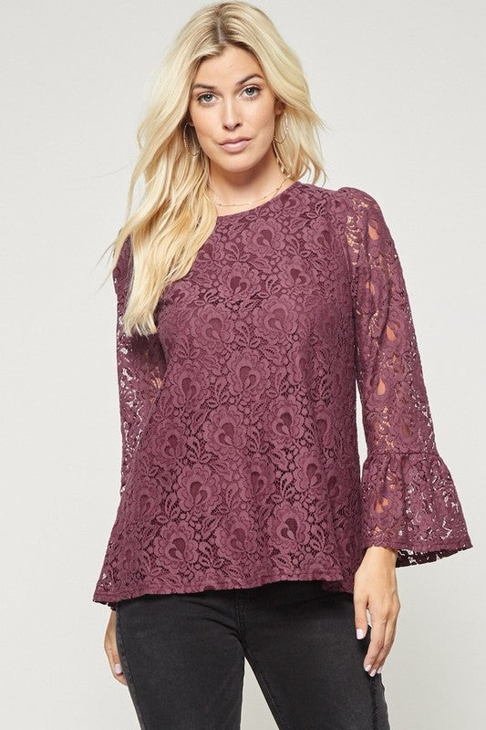 Lovely Lace Bell Sleeve Blouse - 2 Colors