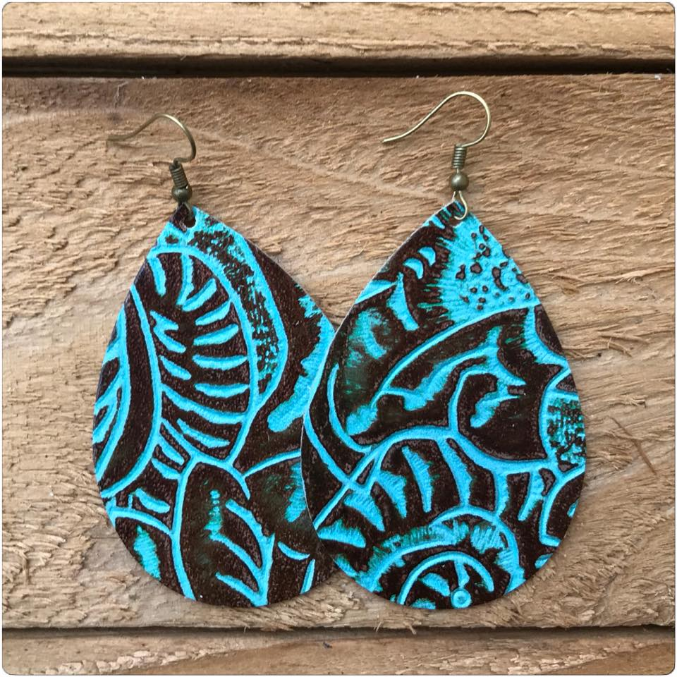 "2.5"" Teardrop Leather Earrings, Many Options"