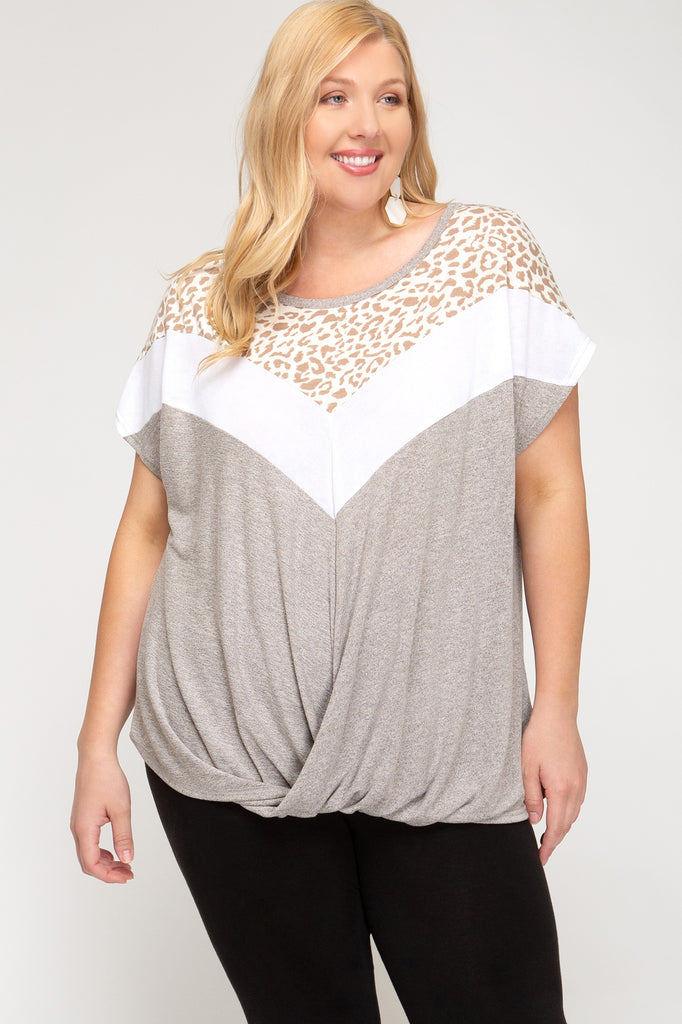 Leopard V-Blocked Top