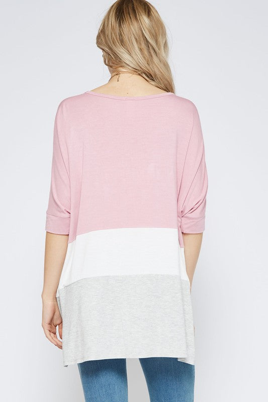 Dusty Rose Colorblock Top