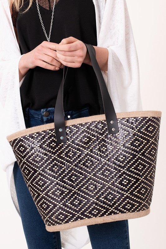 Diamond Straw Tote