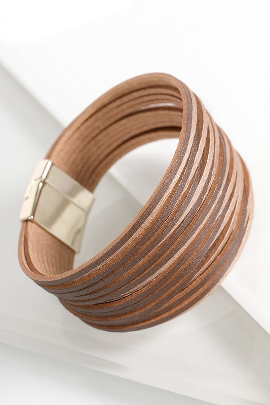 Multi Strand Faux Leather Bracelet