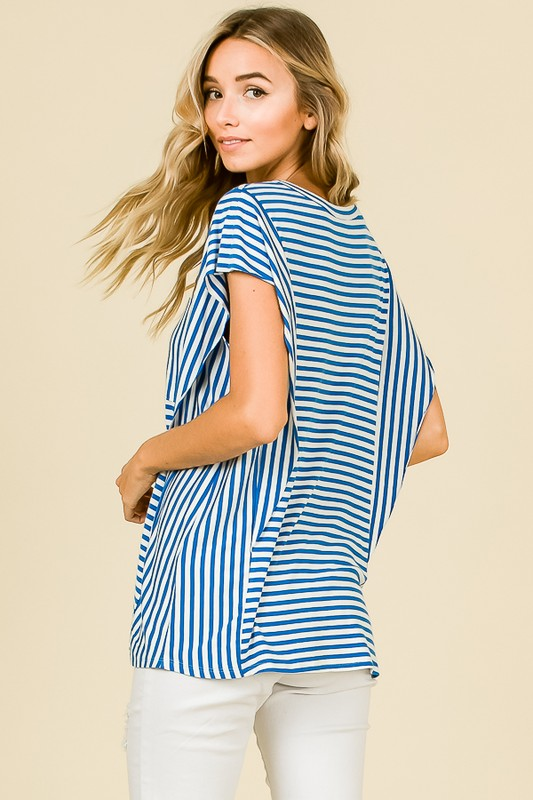Striped Flair Pocket Tee