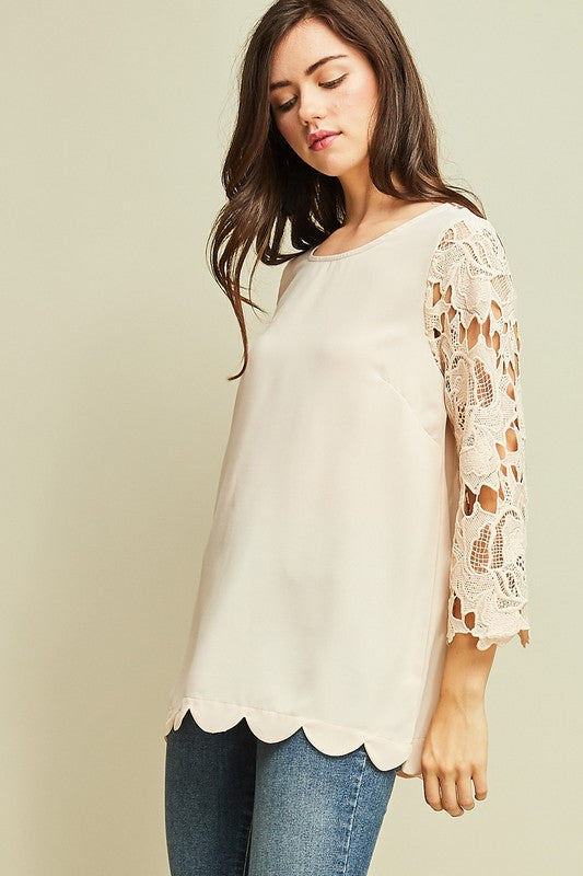 Lace Sleeve Blouse - 2 Colors
