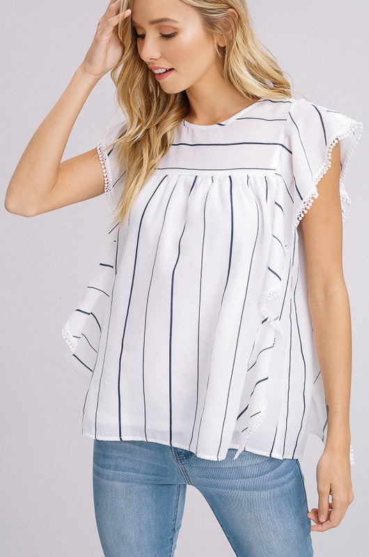 Navy Striped Ruffle Blouse