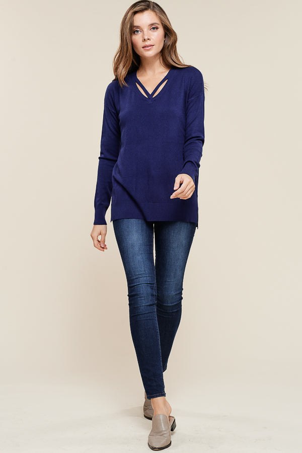 Cross Neck Navy Sweater
