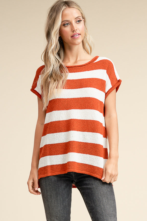 Bold Stripe Short Sleeve Sweater