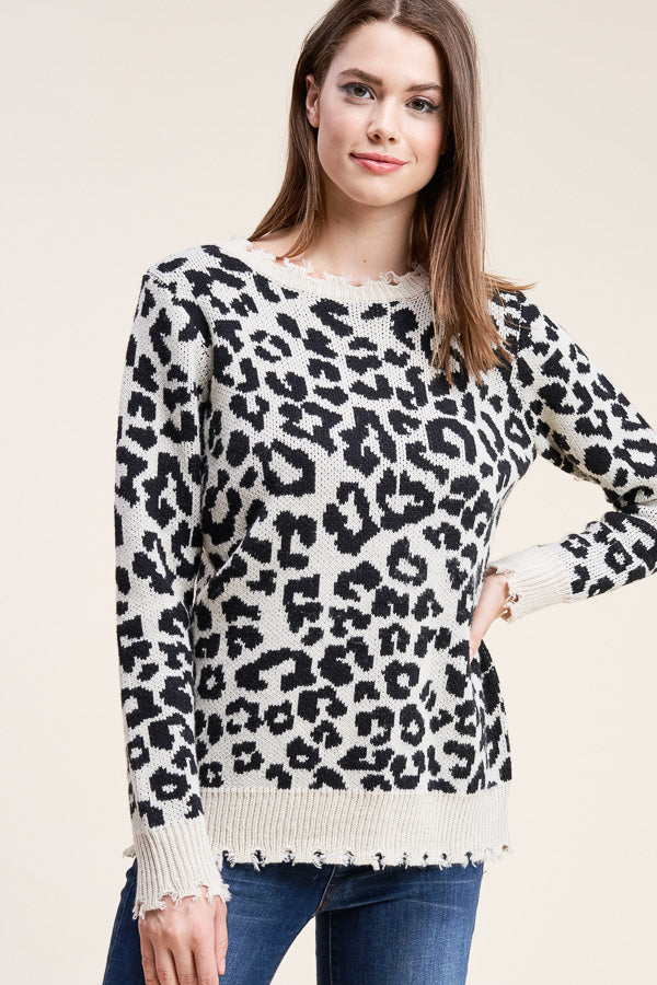 Distressed Ivory Leopard Sweater
