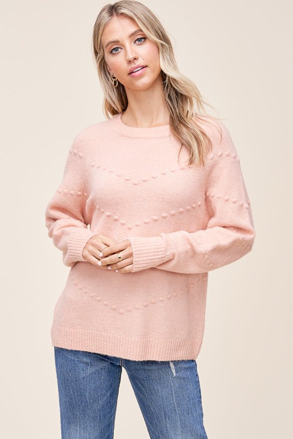 Blush Dot V Sweater