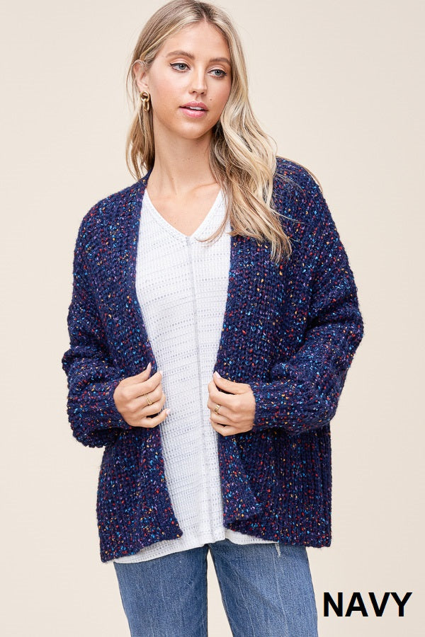 Navy Speckled Cardigan