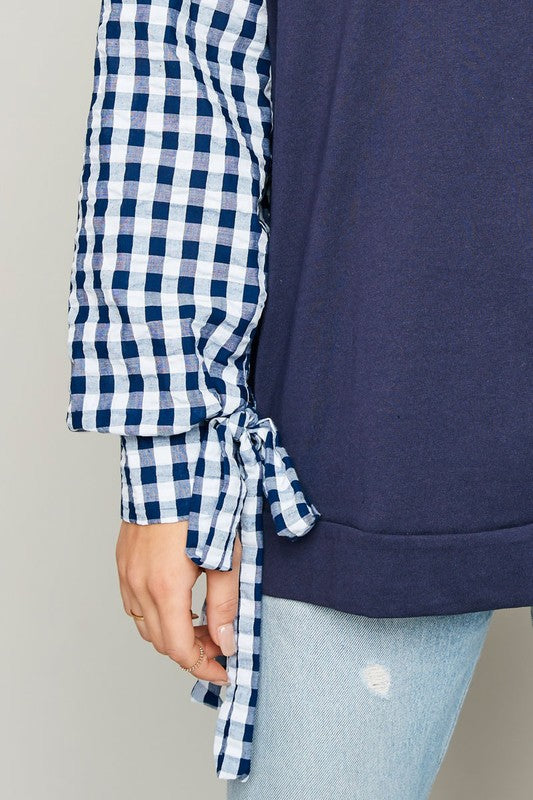 Navy Checkered Sleeve Top