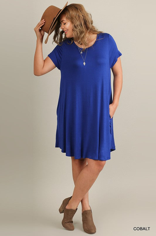 Short Sleeve Knit Dress, Plus Only