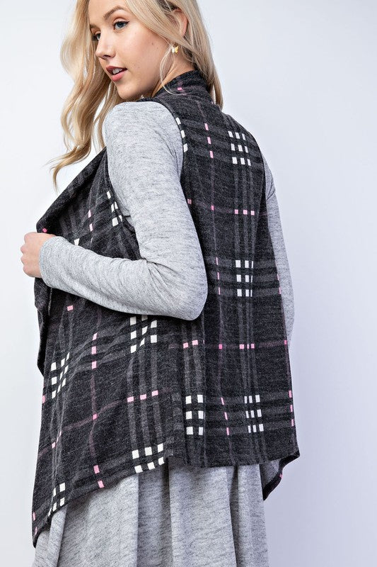 Plaid Waterfall Knit Vest