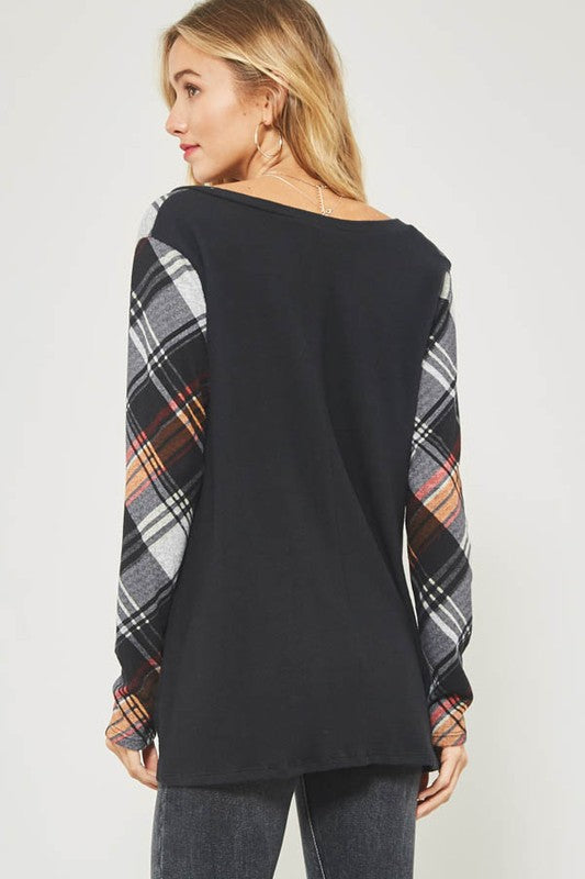 Plaid Sleeve Brush Knit Top