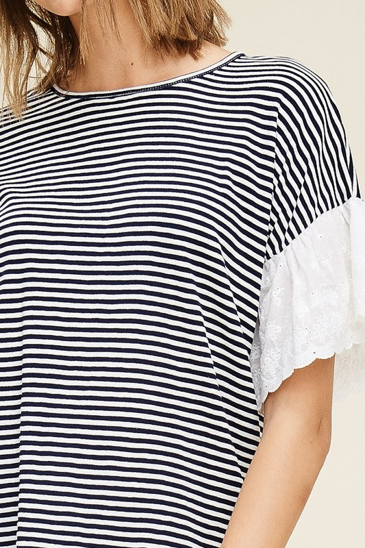 Eyelet Sleeve Striped Top