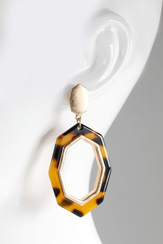 Octagon Acrylic Earrings - 3 colors