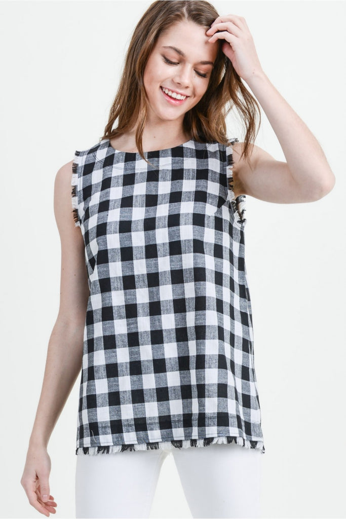 Black & White Gingham Top
